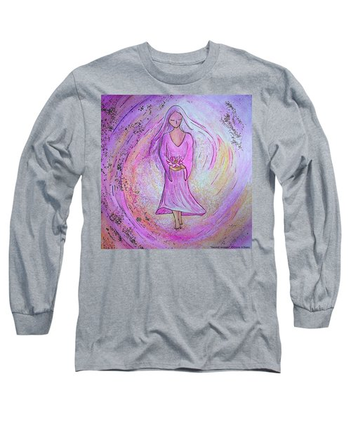 Long Sleeve T-Shirt featuring the painting Sacred Woman by Gioia Albano