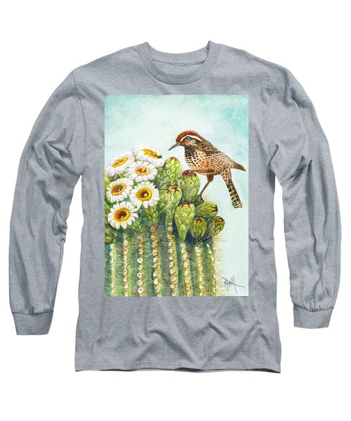 Long Sleeve T-Shirt featuring the painting Saguaro And Cactus Wren by Marilyn Smith