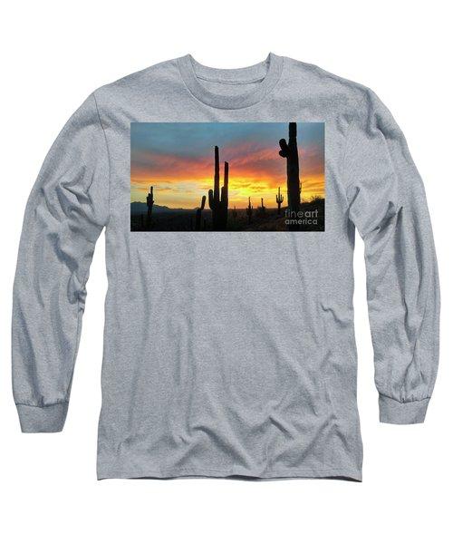 Saguaro Sunset Long Sleeve T-Shirt by Anthony Citro
