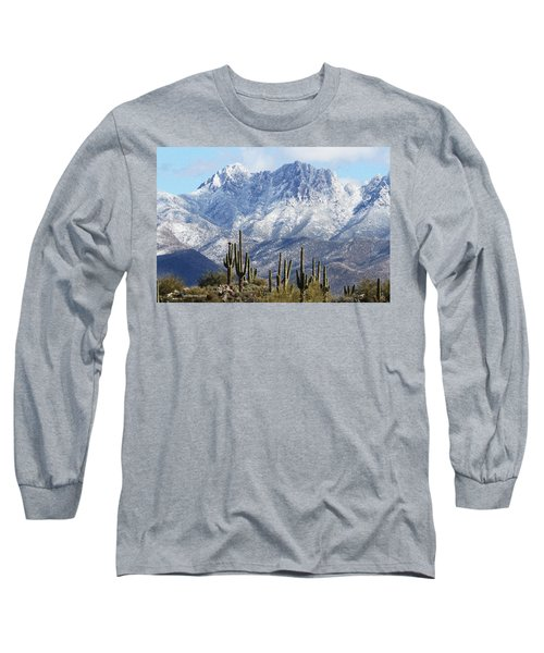 Saguaros At Four Peaks With Snow Long Sleeve T-Shirt