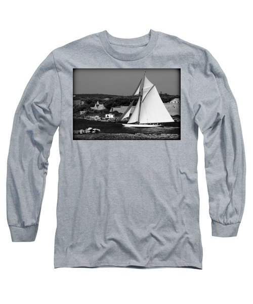 sailboat - a one mast classical vessel sailing in one of the most beautiful harbours Port Mahon Long Sleeve T-Shirt by Pedro Cardona