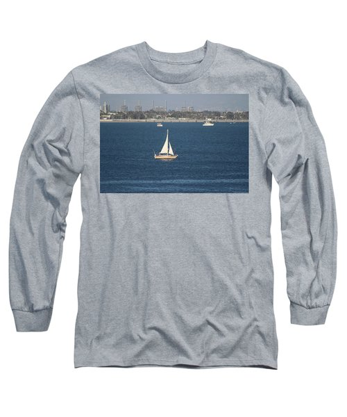 Sailboat On The Pacific In Long Beach Long Sleeve T-Shirt