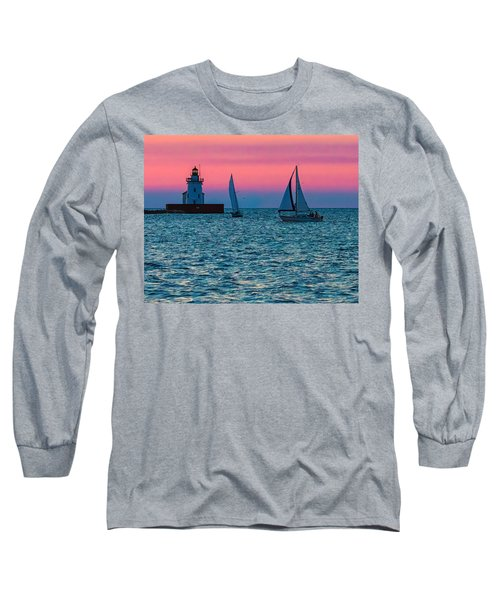 Sailing At The Cleveland Lighthouse  Long Sleeve T-Shirt