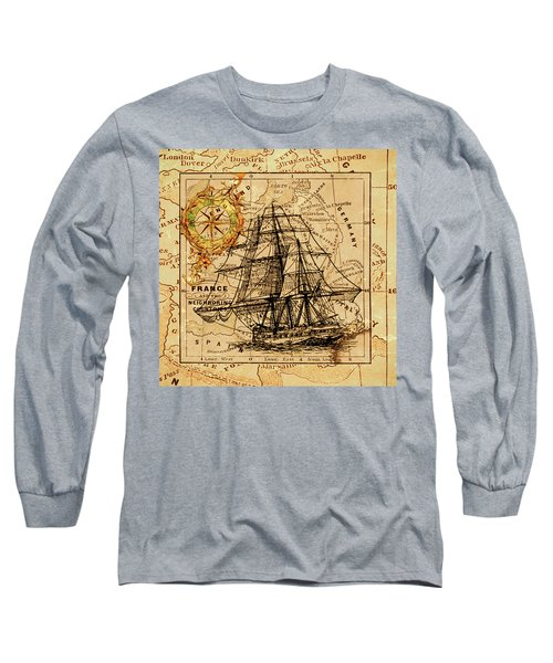 Sailing Ship Map Long Sleeve T-Shirt