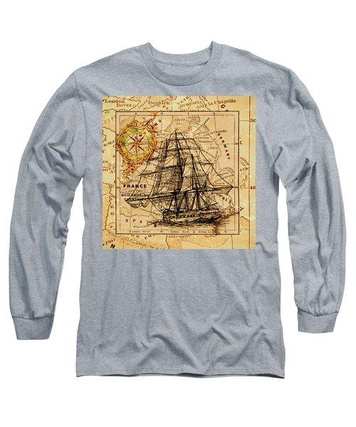 Sailing Ship Map Long Sleeve T-Shirt