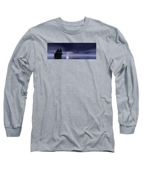 Sails Beneath The Moon Long Sleeve T-Shirt by Mark Blauhoefer