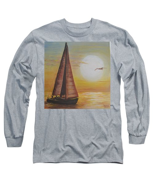 Sails In The Sunset Long Sleeve T-Shirt by Debbie Baker