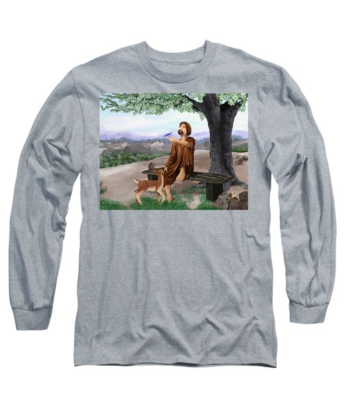 Long Sleeve T-Shirt featuring the painting Saint Francis by Susan Kinney