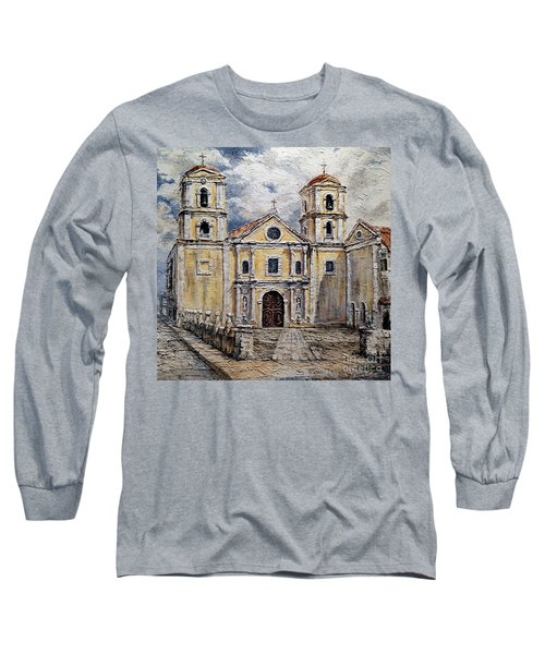 Long Sleeve T-Shirt featuring the painting San Agustin Church 1800s by Joey Agbayani