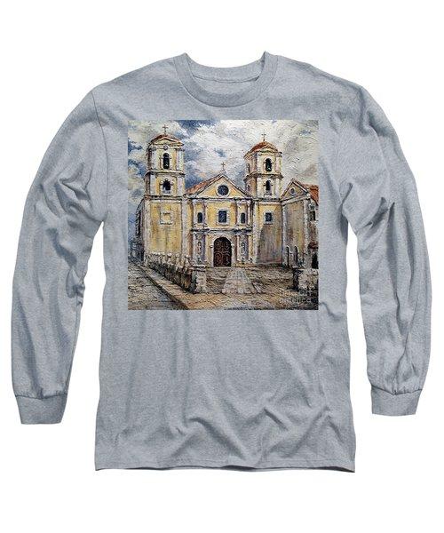 San Agustin Church 1800s Long Sleeve T-Shirt by Joey Agbayani