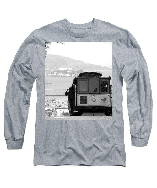 San Francisco Cable Car With Alcatraz Long Sleeve T-Shirt
