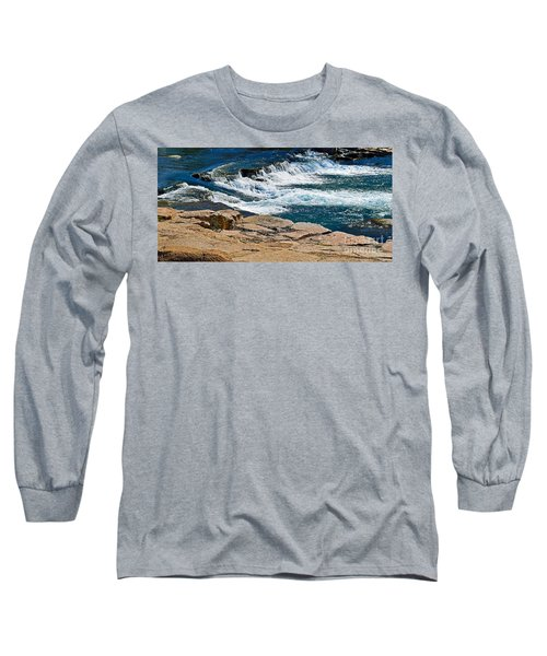 San Marcos River Waterfall  Long Sleeve T-Shirt by Ray Shrewsberry