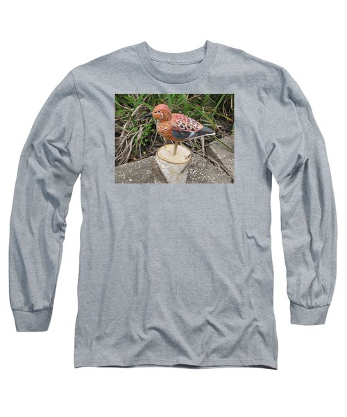 Long Sleeve T-Shirt featuring the sculpture Sanderling Foward 3 by Kevin F Heuman