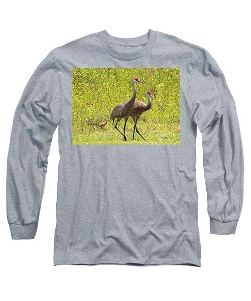 Sandhill Crane Family Long Sleeve T-Shirt