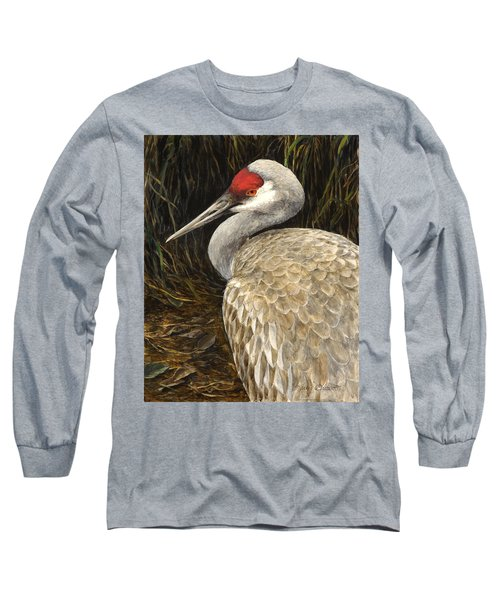 Long Sleeve T-Shirt featuring the painting Sandhill Crane - Realistic Bird Wildlife Art by Karen Whitworth