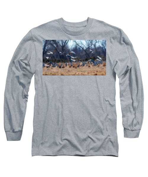 Sandhill Crane Taking Flight Long Sleeve T-Shirt by Edward Peterson