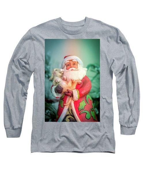 Santa And Lab Pup Long Sleeve T-Shirt