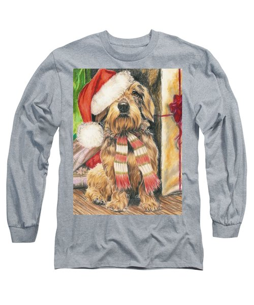 Long Sleeve T-Shirt featuring the drawing Santas Little Yelper by Barbara Keith