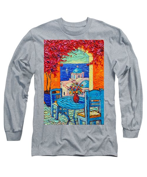 Santorini Dream Greece Contemporary Impressionist Palette Knife Oil Painting By Ana Maria Edulescu Long Sleeve T-Shirt