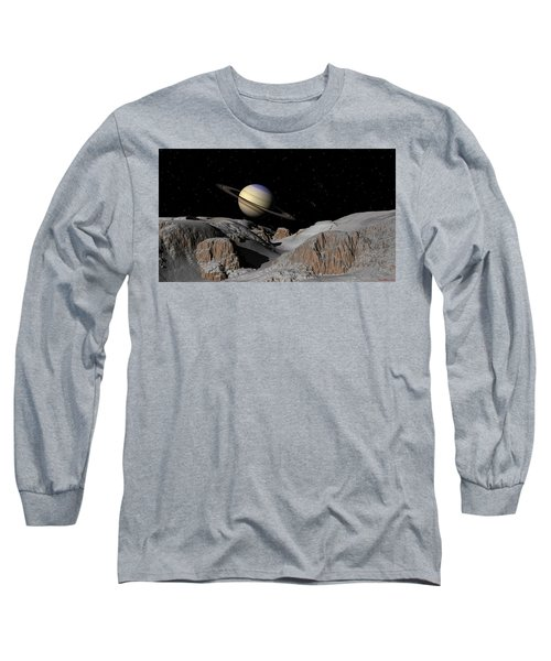 Saturn From The Moon Dione Long Sleeve T-Shirt