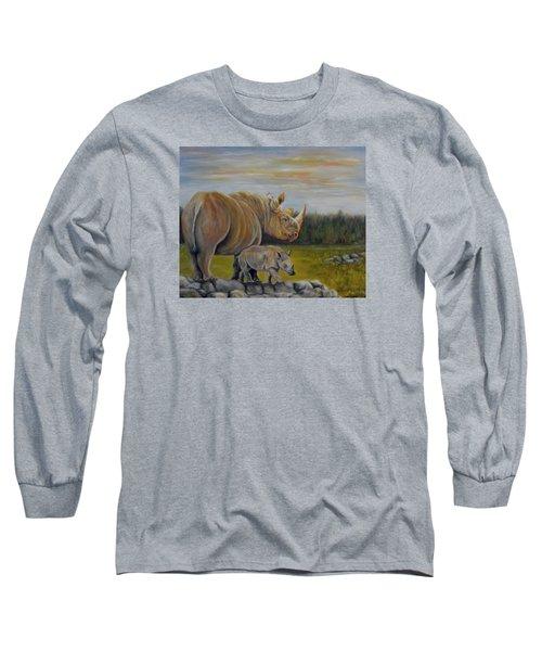 Savanna Overlook, Rhinoceros  Long Sleeve T-Shirt