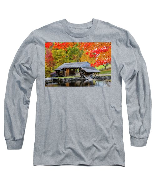 Sawmill Reflection, Autumn In New Hampshire Long Sleeve T-Shirt by Betty Denise