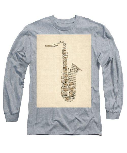 Saxophone Old Sheet Music Long Sleeve T-Shirt
