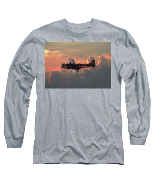 Long Sleeve T-Shirt featuring the digital art  Sbd - Dauntless by Pat Speirs