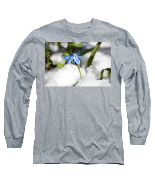 Long Sleeve T-Shirt featuring the photograph Scilla In Snow by Jeff Severson
