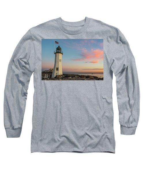 Scituate Lighthouse Scituate Massachusetts South Shore At Sunrise Long Sleeve T-Shirt