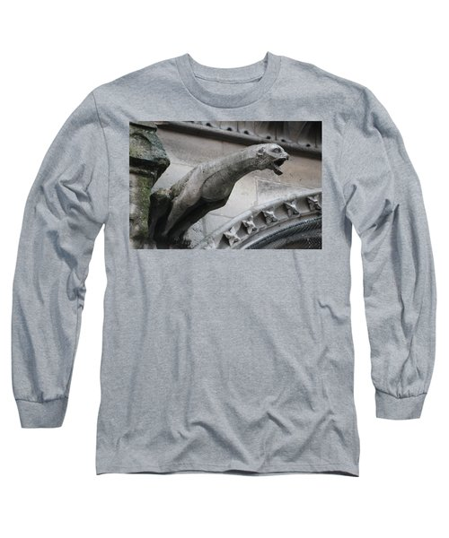 Long Sleeve T-Shirt featuring the photograph Screaming Griffon Notre Dame Paris by Christopher Kirby