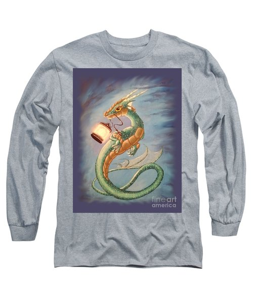 Long Sleeve T-Shirt featuring the painting Sea Dragon And Lantern by Mary Hoy
