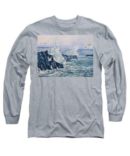 Sea, Splashes And Gulls Long Sleeve T-Shirt