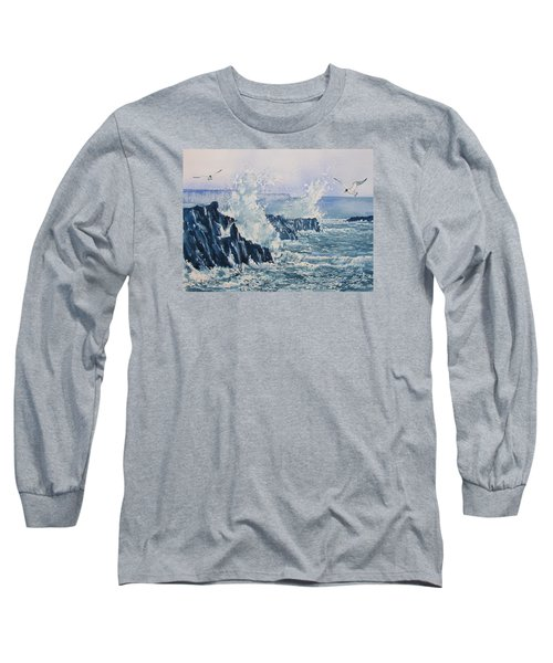 Sea, Splashes And Gulls Long Sleeve T-Shirt