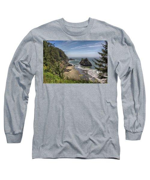 Sea Stacks And Wildflowers Long Sleeve T-Shirt