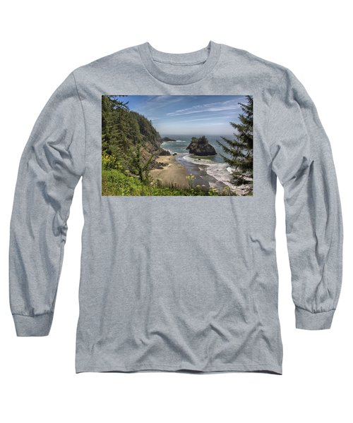 Sea Stacks And Wildflowers Long Sleeve T-Shirt