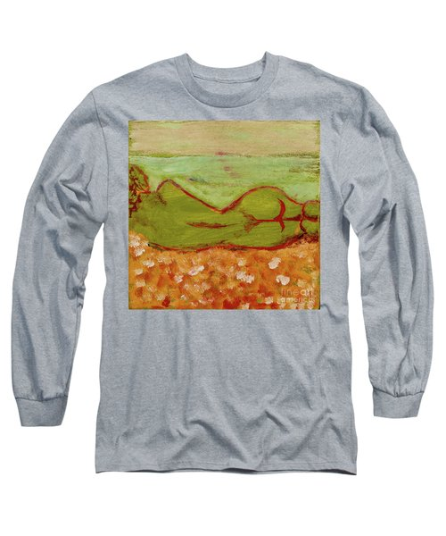 Long Sleeve T-Shirt featuring the painting Seagirlscape by Paul McKey