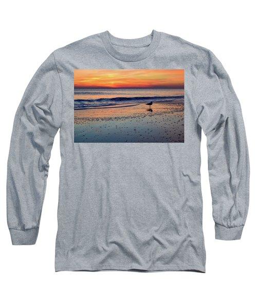 Seagull At Sunrise Long Sleeve T-Shirt