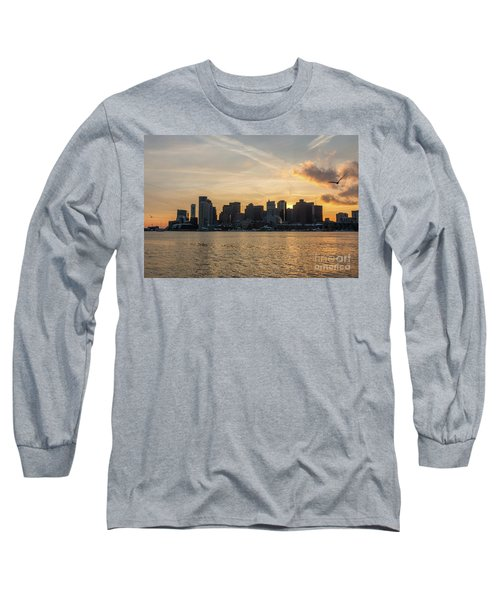 Seagull Flying At Sunset With The Skyline Of Boston On The Backg Long Sleeve T-Shirt