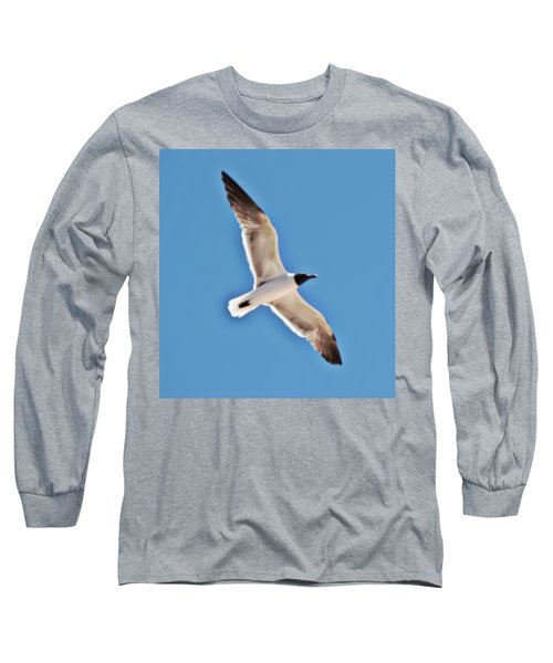 Seagull In Flight Long Sleeve T-Shirt by Gina O'Brien