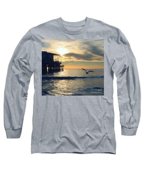 Seagull Pier Sunrise Seascape C2 Long Sleeve T-Shirt