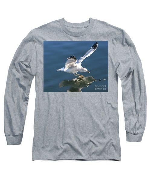 Seagull Reflection Long Sleeve T-Shirt by Rod Jellison