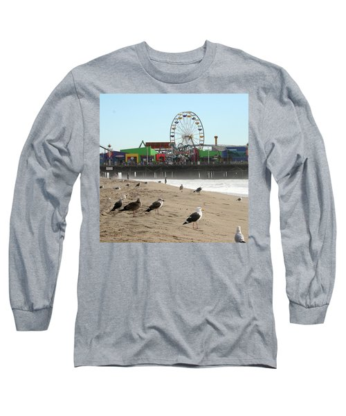 Seagulls And Ferris Wheel Long Sleeve T-Shirt