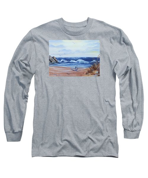Seascape Long Sleeve T-Shirt by Denise Fulmer