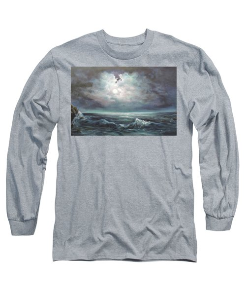 Long Sleeve T-Shirt featuring the painting Moonlit  by Luczay
