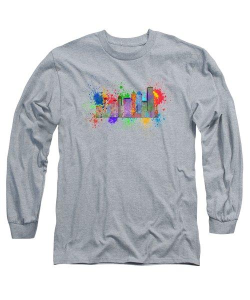 Seattle Skyline Paint Splatter Color Illustration Long Sleeve T-Shirt
