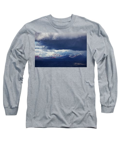 Long Sleeve T-Shirt featuring the photograph Sedona Area Third Winter Storm by Ron Chilston