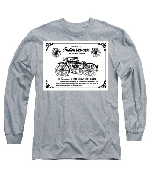 Long Sleeve T-Shirt featuring the mixed media See New 1914 Indian Motocycle At The Auto Show by Daniel Hagerman