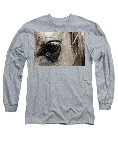 Stillness In The Eye Of A Horse Long Sleeve T-Shirt by Marilyn Hunt