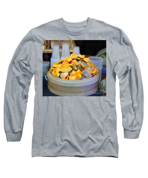 Long Sleeve T-Shirt featuring the photograph Selling Fresh Pumpkin Shakes by Yali Shi